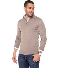 sweater taupe 18 preppy m/l c/alto 1/2 cremallera t.delgado