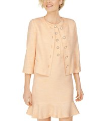 karl lagerfeld embellished-button tweed jacket