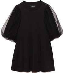 a-line tulle overlay sleeve top in black