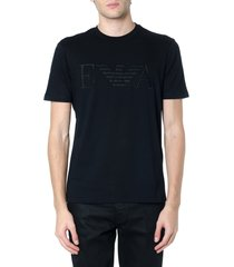 emporio armani black cotton logo t-shirt