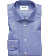 eton overhemd contemporary fit blauw texture twill