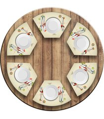 jogo americano love decor para mesa redonda wevans cute noel kit com 6 pçs