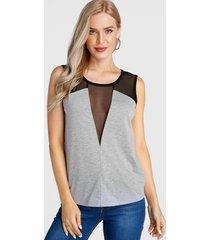 blusa sin mangas de patchwork de malla semitransparente gris