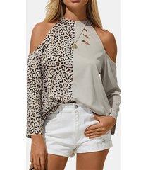 camicetta casual a maniche lunghe con spalle scoperte e stampa leopardata da donna leopard