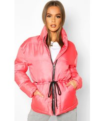 tie waist funnel neck puffer jacket, red