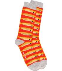 henrik vibskov intarsia knit fish pattern socks - orange
