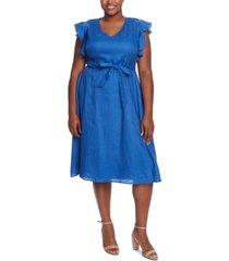 cece plus size v-neck flutter-sleeve dress