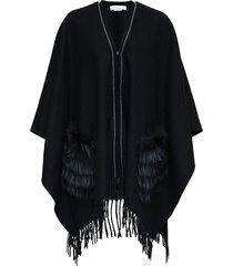fabiana filippi black wool cape with fringes and fur pockets