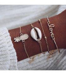 braccialetto a forma di conchiglia con pendente a forma di lettera di conchiglie di frutti stile casual
