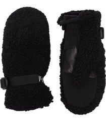 holden adjustable buckle faux-shearling gloves - black