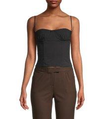 danielle bernstein women's underwire corset crop top - optic white - size 6