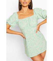 petite floral smock dress, green