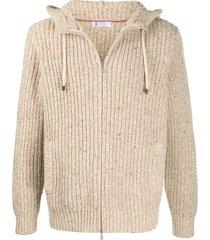 brunello cucinelli knitted zipped hoodie - neutrals