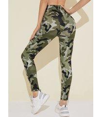 yoins leggings de cintura alta de camuflaje verde militar