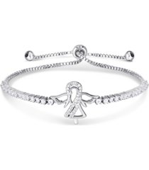 cubic zirconia angel adjustable slider bolo bracelet in fine silver plate