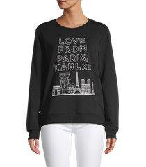 karl lagerfeld paris women's love from paris graphic sweatshirt - black - size m