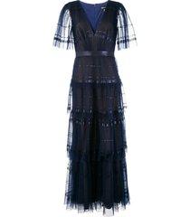 tadashi shoji cape sleeves pleated tulle dress - blue