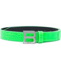 balenciaga hourglass embossed leather belt - green