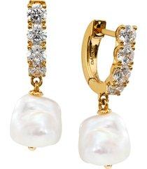 eliot danori imitation pearl charm hoop earrings, created for macy's