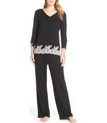 women's natori luxe shangri-la pajamas, size x-large - black