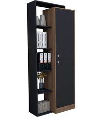 armário estante c/ 5 nichos moove preto e castanho appunto
