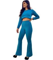 calça legging tecido emana anticelulites flanelado azul petroleo não fica transparente