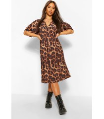 leopard print gathered v neck midi dress, brown