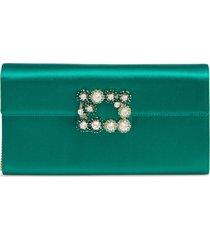 roger vivier flower buckle satin clutch - green
