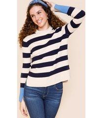 women's paula stripe long sleeve sweater in taupe by francesca's - size: 3x