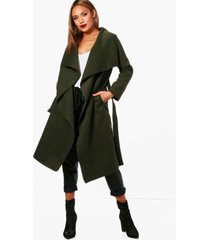 belted waterfall coat, bottle green
