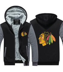 chicago blackhawks hockey hoodie zip up jacket coat winter warm black and gray