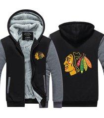 chicago blackhawks hockey hoodie zip up jacket coat winter warm black and gray