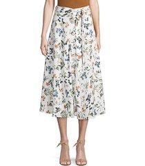 botanical-print linen knee-length skirt