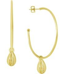 essentials seashell charm hoop earrings