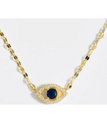 aaliyah evil eye pendant necklace - navy