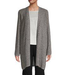 silk & organic linen open-front cardigan