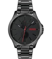 hugo men's #jump black stainless steel bracelet watch 41mm
