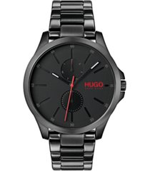 hugo men's #jump black stainless steel bracelet watch 41mm
