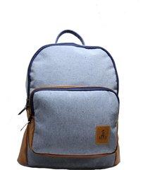mochila em moletom azul estonado com bolso com detalhes caramelo - kanui