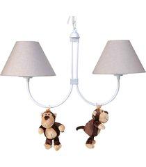 lustre 2l simples floresta com 2 macacos quarto bebê infantil potinho de mel bege