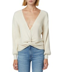 hudson jeans knotted sweater, size medium in asparagus at nordstrom