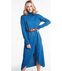 swetrowa sukienka z golfem estelle morska