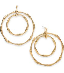 thalia sodi gold-tone bamboo double doorknocker drop hoop earrings, created for macy's