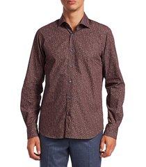 saks fifth avenue men's collection uneven dot sport shirt - burgundy - size s