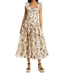women's ulla johnson coretta floral ruffle collar tiered dress, size 12 - white