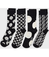 happy socks black and white gift box strumpor mönstrad