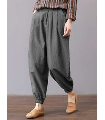 pantaloni harem vintage in vita elasticizzata tinta unita