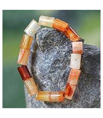 agate beaded bracelet, 'accra warmth' (ghana)