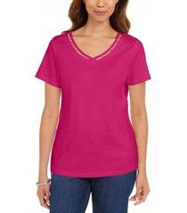karen scott cotton open-trim v-neck t-shirt, created for macy's