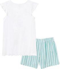 pigiama estivo con pantaloni in tessuto (bianco) - bpc bonprix collection
